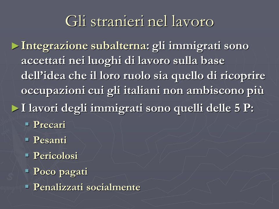 Gli stranieri nel lavoro Integrazione subalterna: gli immigrati sono accettati nei luoghi di lavoro sulla base dellidea che il loro ruolo sia quello d