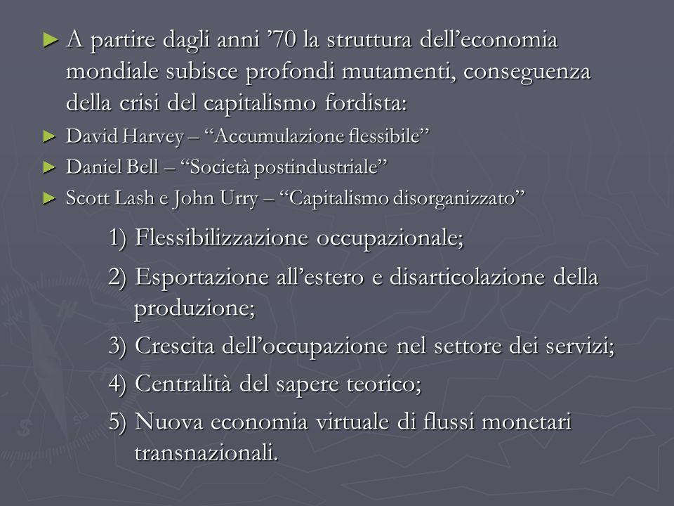 A partire dagli anni 70 la struttura delleconomia mondiale subisce profondi mutamenti, conseguenza della crisi del capitalismo fordista: A partire dag