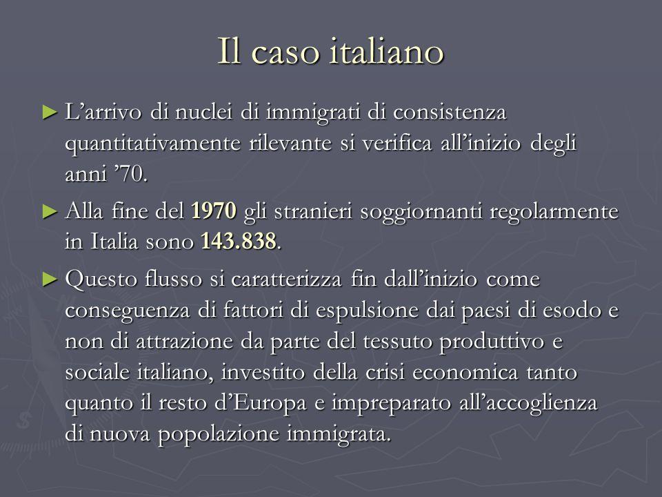 Il caso italiano Larrivo di nuclei di immigrati di consistenza quantitativamente rilevante si verifica allinizio degli anni 70. Larrivo di nuclei di i