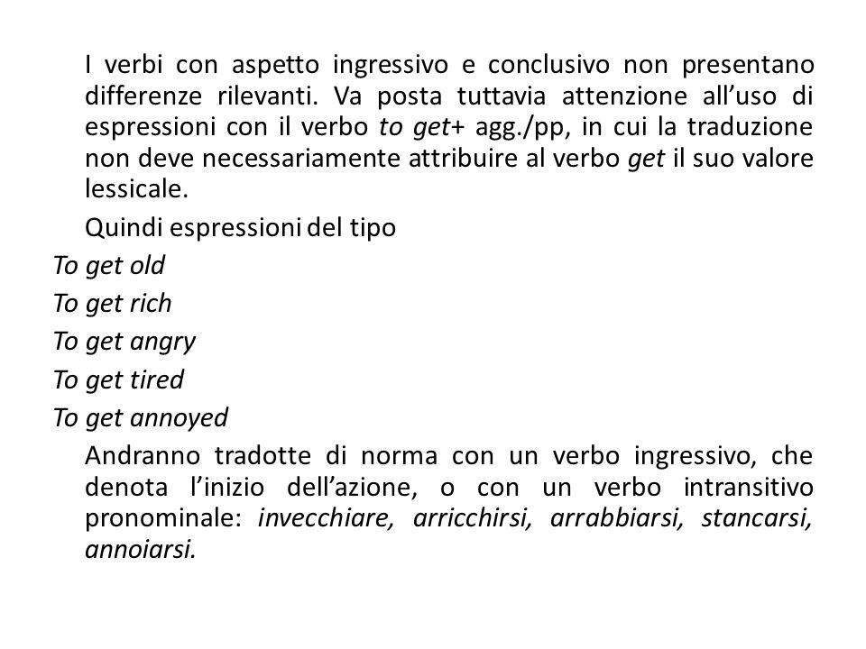 I verbi con aspetto ingressivo e conclusivo non presentano differenze rilevanti. Va posta tuttavia attenzione alluso di espressioni con il verbo to ge