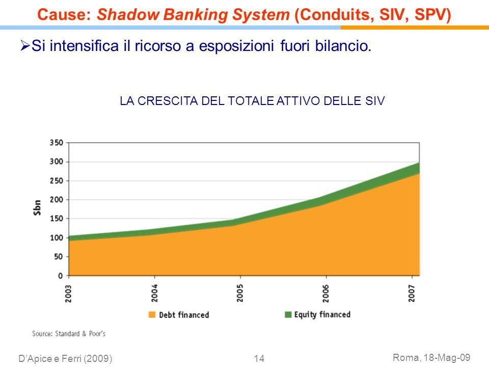 Roma, 18-Mag-09 DApice e Ferri (2009)14 Si intensifica il ricorso a esposizioni fuori bilancio. Cause: Shadow Banking System (Conduits, SIV, SPV) LA C