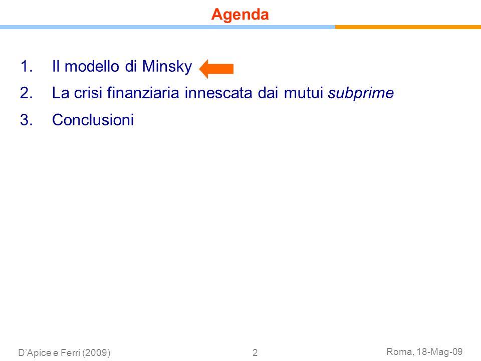 Roma, 18-Mag-09 DApice e Ferri (2009)2 1.Il modello di Minsky 2.La crisi finanziaria innescata dai mutui subprime 3.Conclusioni Agenda