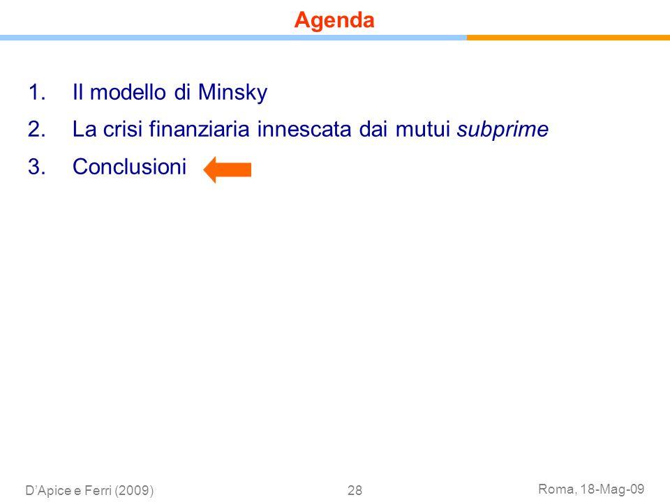 Roma, 18-Mag-09 DApice e Ferri (2009)28 1.Il modello di Minsky 2.La crisi finanziaria innescata dai mutui subprime 3.Conclusioni Agenda