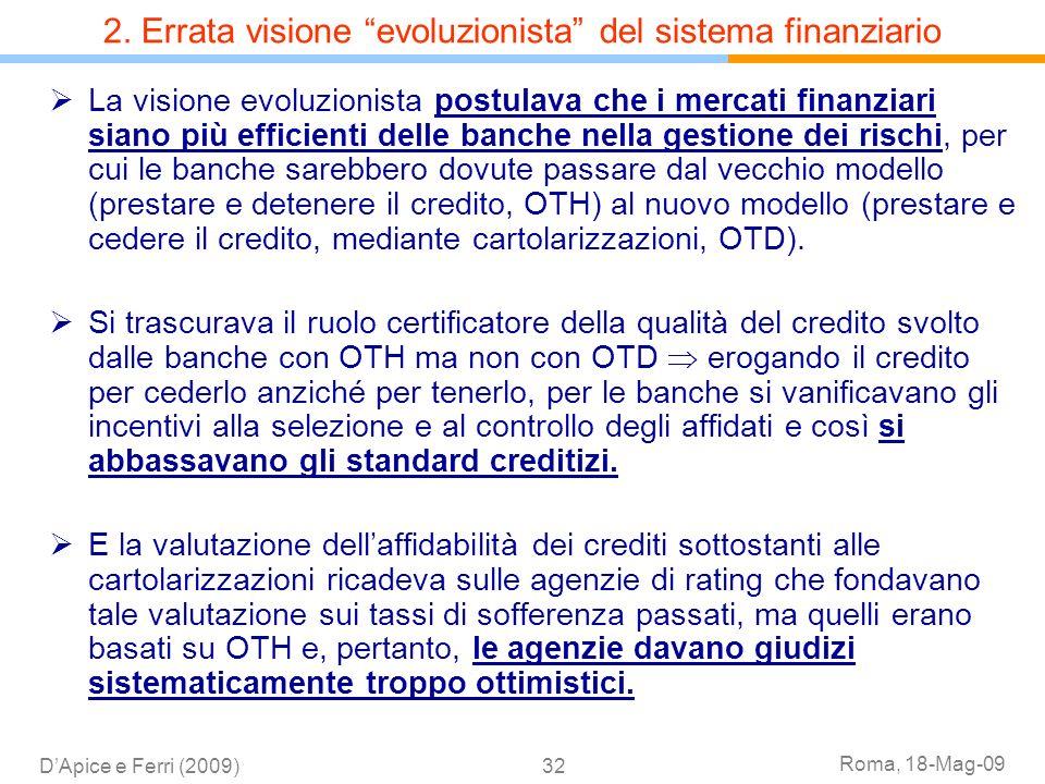 Roma, 18-Mag-09 DApice e Ferri (2009)32 La visione evoluzionista postulava che i mercati finanziari siano più efficienti delle banche nella gestione d