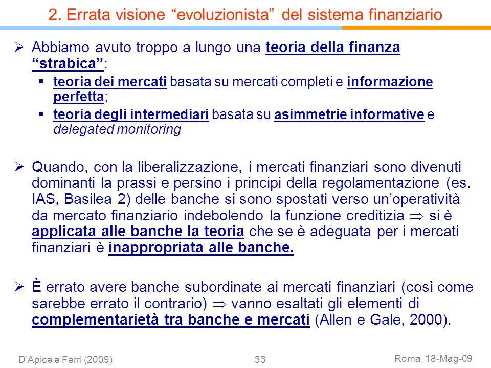 Roma, 18-Mag-09 DApice e Ferri (2009)33 Abbiamo avuto troppo a lungo una teoria della finanza strabica: teoria dei mercati basata su mercati completi