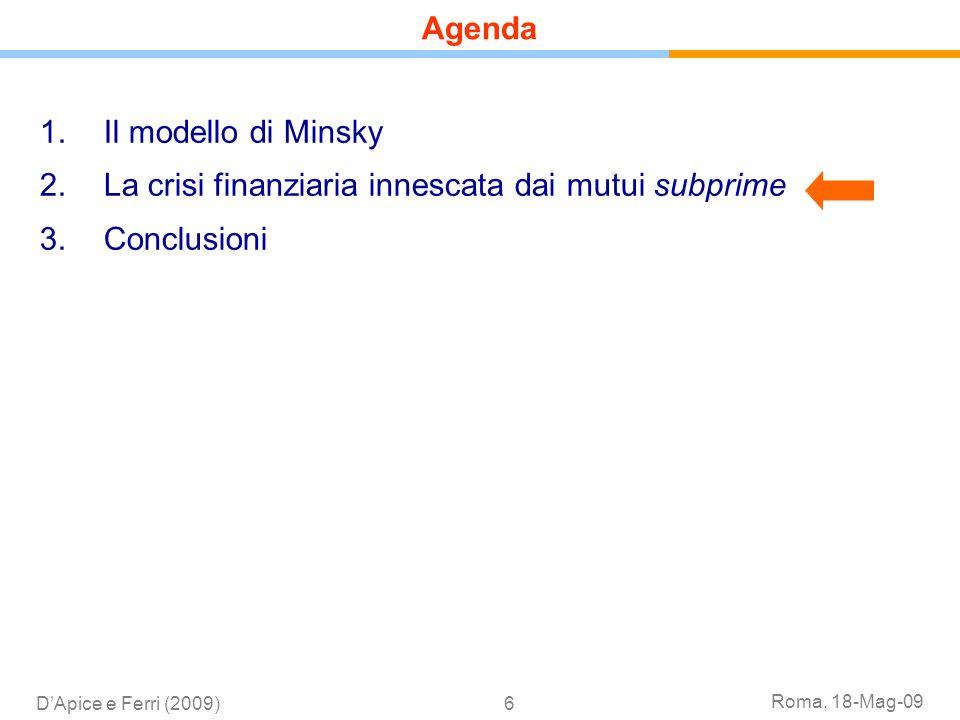 Roma, 18-Mag-09 DApice e Ferri (2009)6 1.Il modello di Minsky 2.La crisi finanziaria innescata dai mutui subprime 3.Conclusioni Agenda