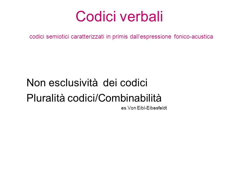 Codici verbali codici semiotici caratterizzati in primis dallespressione fonico-acustica Non esclusività dei codici Pluralità codici/Combinabilità es.