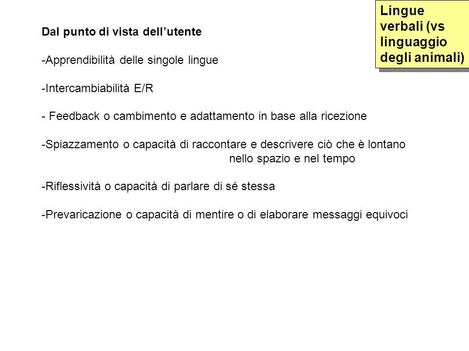 Dal punto di vista dellutente -Apprendibilità delle singole lingue -Intercambiabilità E/R - Feedback o cambimento e adattamento in base alla ricezione