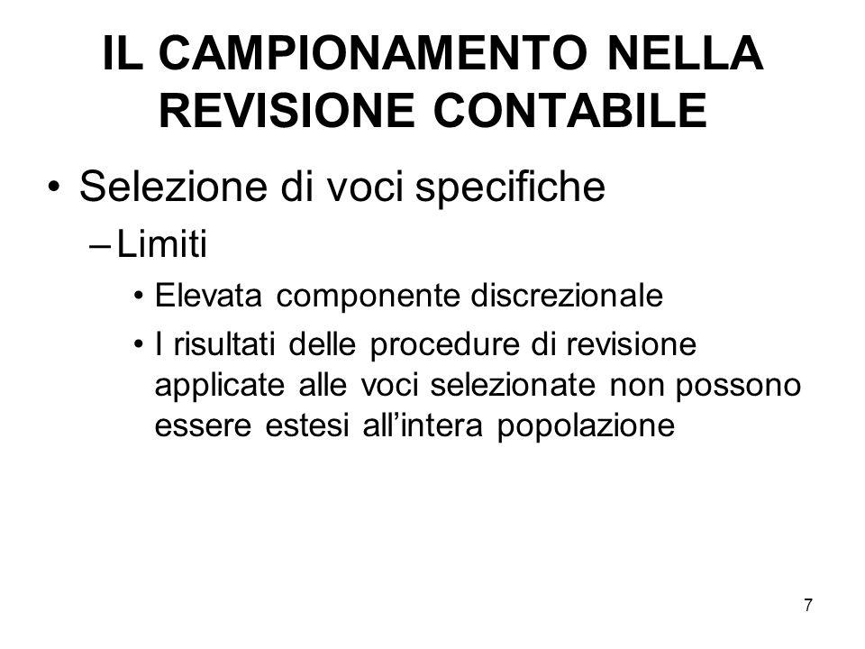 18 IL CAMPIONAMENTO NELLA REVISIONE CONTABILE Selezione per attributi –Il campionamento è utilizzato per valutare leffettiva esistenza di specifiche condizioni (attributi) in una popolazione.