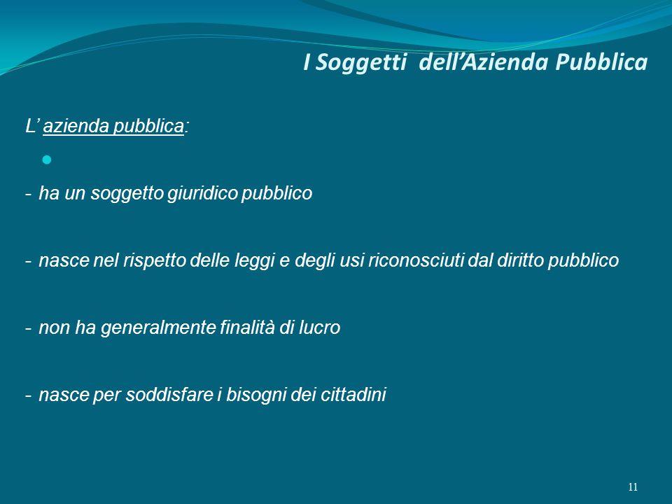 I Soggetti dellAzienda Pubblica 11 L azienda pubblica: -ha un soggetto giuridico pubblico -nasce nel rispetto delle leggi e degli usi riconosciuti dal