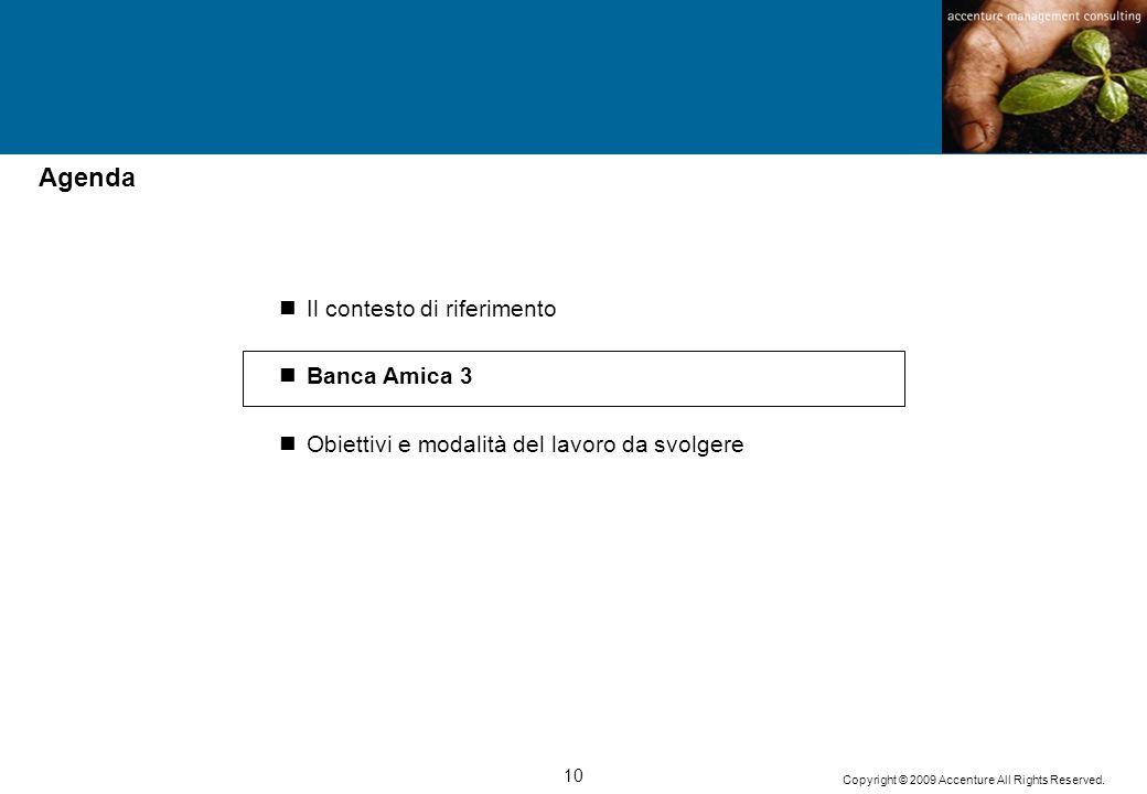 10 Copyright © 2009 Accenture All Rights Reserved. Il contesto di riferimento Banca Amica 3 Obiettivi e modalità del lavoro da svolgere Agenda