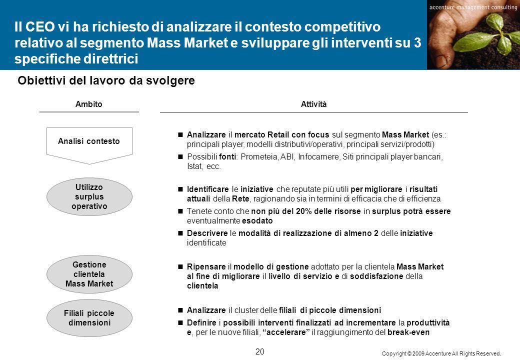 20 Copyright © 2009 Accenture All Rights Reserved. Il CEO vi ha richiesto di analizzare il contesto competitivo relativo al segmento Mass Market e svi