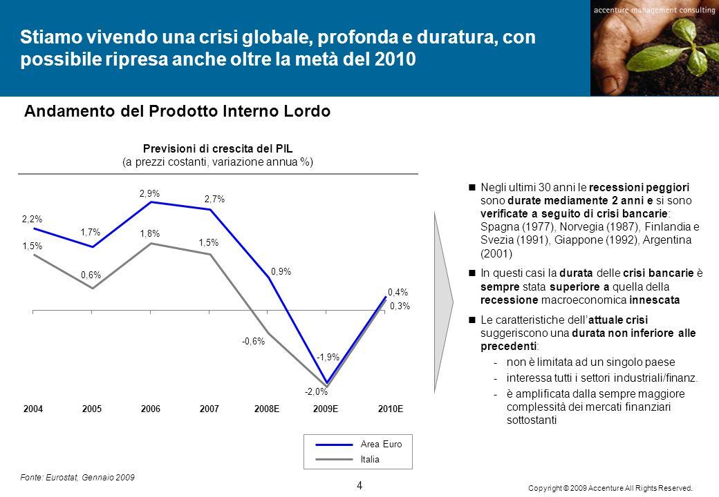 4 Copyright © 2009 Accenture All Rights Reserved. Fonte: Eurostat, Gennaio 2009 2,9% 2005200720042008E20062010E2009E Stiamo vivendo una crisi globale,