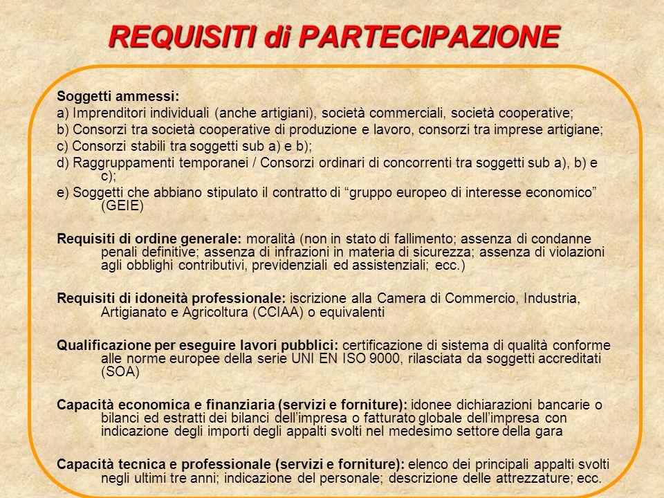 REQUISITI di PARTECIPAZIONE Soggetti ammessi: a) Imprenditori individuali (anche artigiani), società commerciali, società cooperative; b) Consorzi tra