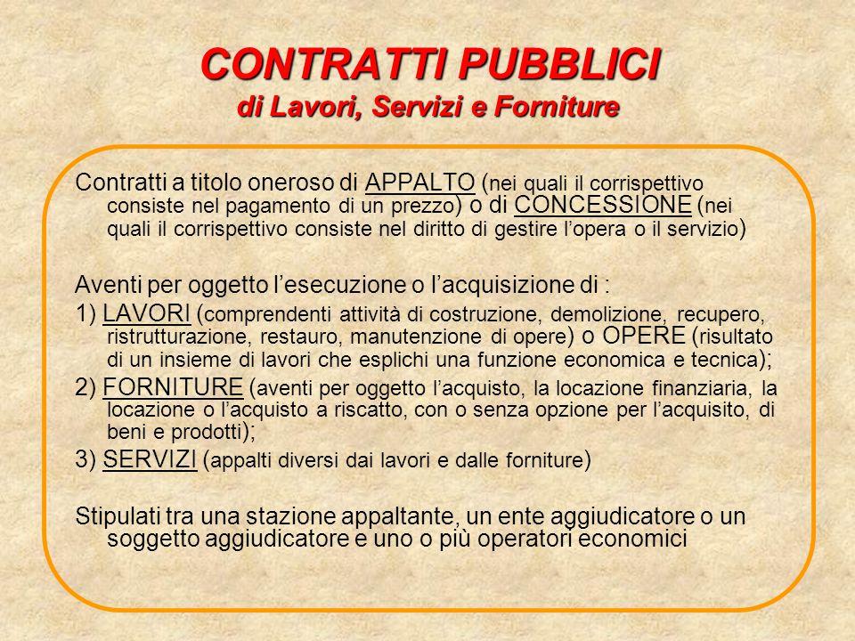 CONTRATTI PUBBLICI di Lavori, Servizi e Forniture Contratti a titolo oneroso di APPALTO ( nei quali il corrispettivo consiste nel pagamento di un prez