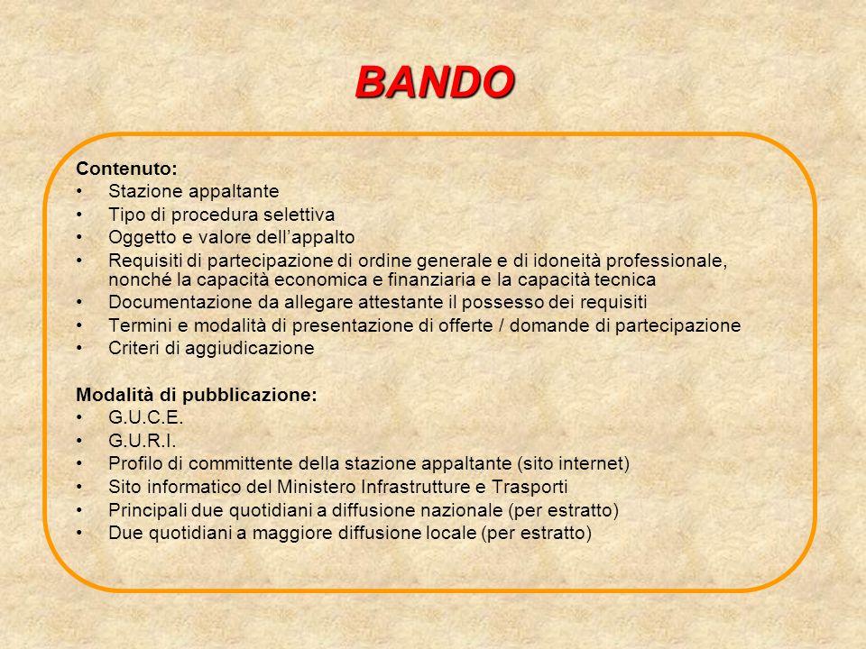 BANDO Contenuto: Stazione appaltante Tipo di procedura selettiva Oggetto e valore dellappalto Requisiti di partecipazione di ordine generale e di idon