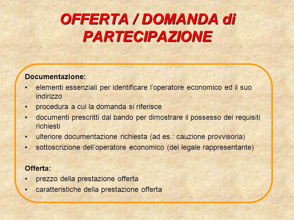 OFFERTA / DOMANDA di PARTECIPAZIONE Documentazione: elementi essenziali per identificare loperatore economico ed il suo indirizzo procedura a cui la d