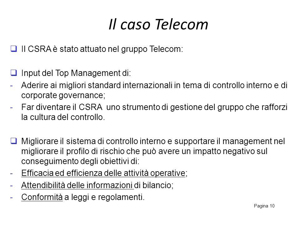Il caso Telecom Pagina 10 Il CSRA è stato attuato nel gruppo Telecom: Input del Top Management di: -Aderire ai migliori standard internazionali in tem