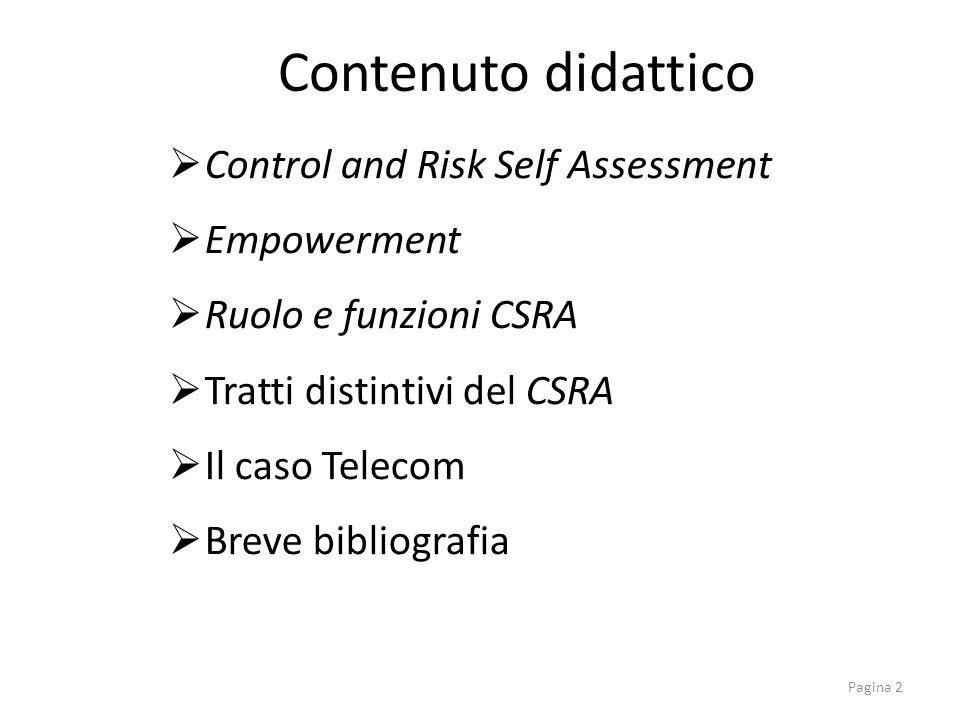 Control and Risk Self Assessment Empowerment Ruolo e funzioni CSRA Tratti distintivi del CSRA Il caso Telecom Breve bibliografia Contenuto didattico P
