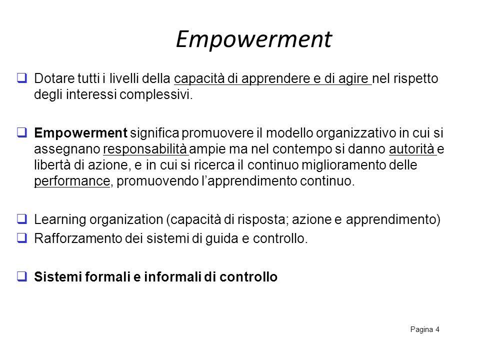 Empowerment Pagina 4 Dotare tutti i livelli della capacità di apprendere e di agire nel rispetto degli interessi complessivi. Empowerment significa pr
