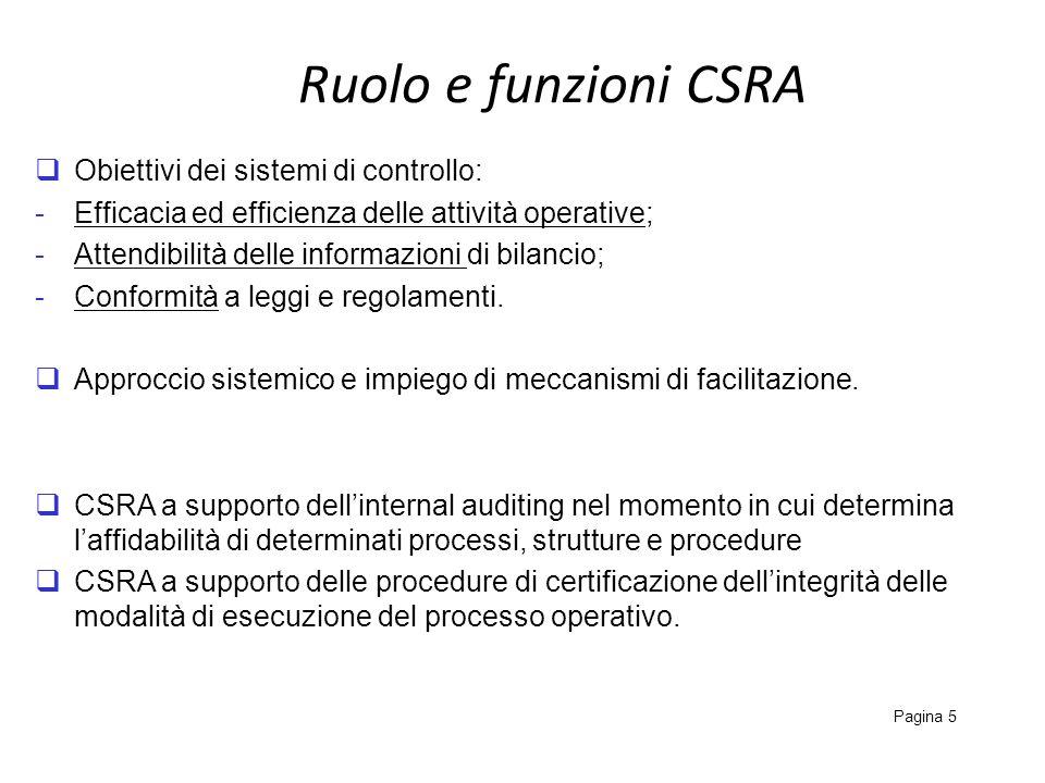 Tratti distintivi del CSRA Pagina 6 Sulla base di quanto detto emerge che il CSRA è un approccio volto allidentificazione e valutazione dei rischi (e dei connessi sistemi di controllo e piani di intervento) caratterizzato da unattività di partecipazione del management agevolata dallimpiego di meccanismi di facilitazione.