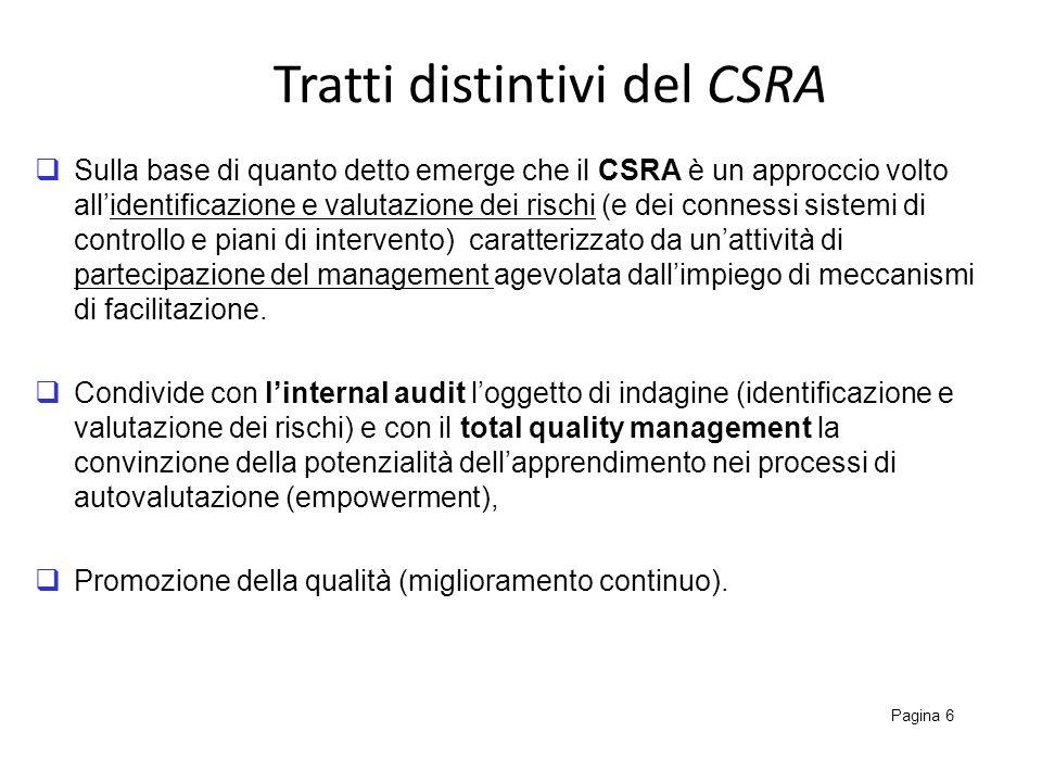 Tratti distintivi del CSRA Pagina 6 Sulla base di quanto detto emerge che il CSRA è un approccio volto allidentificazione e valutazione dei rischi (e