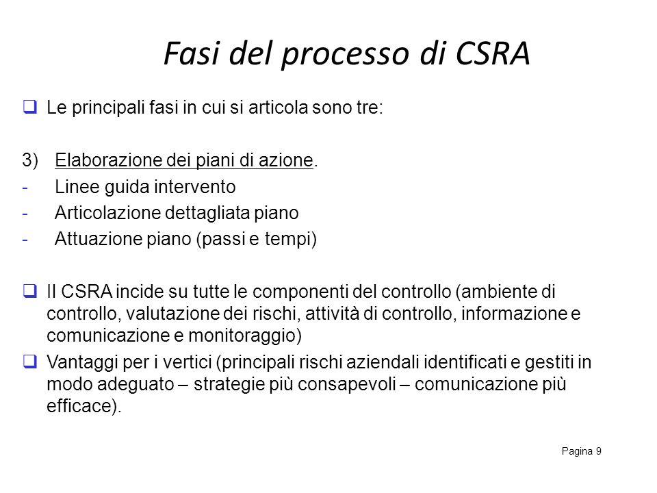 Fasi del processo di CSRA Pagina 9 Le principali fasi in cui si articola sono tre: 3)Elaborazione dei piani di azione. -Linee guida intervento -Artico