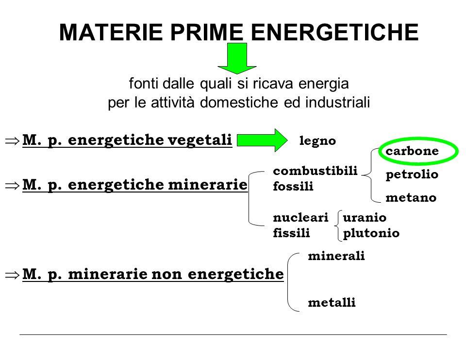 MATERIE PRIME ENERGETICHE fonti dalle quali si ricava energia per le attività domestiche ed industriali M. p. energetiche vegetali legno M. p. energet