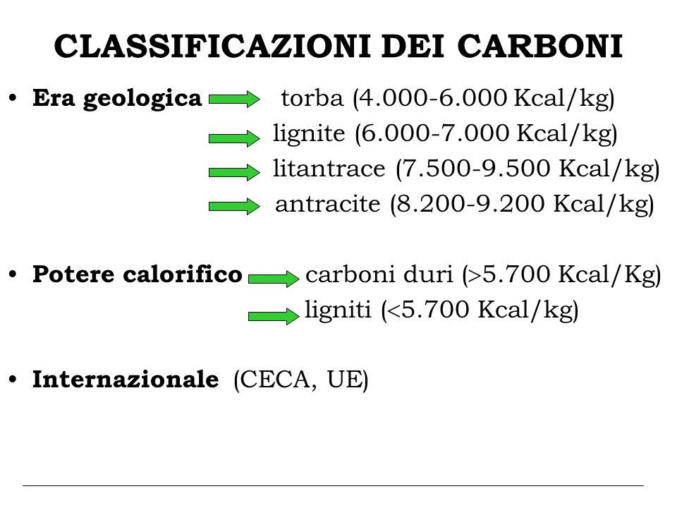 CLASSIFICAZIONI DEI CARBONI Era geologica torba (4.000-6.000 Kcal/kg) lignite (6.000-7.000 Kcal/kg) litantrace (7.500-9.500 Kcal/kg) antracite (8.200-