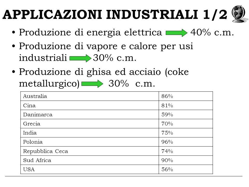 APPLICAZIONI INDUSTRIALI 1/2 Produzione di energia elettrica 40% c.m. Produzione di vapore e calore per usi industriali 30% c.m. Produzione di ghisa e