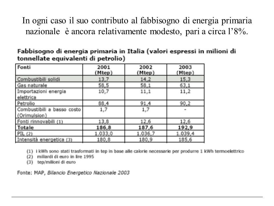 In ogni caso il suo contributo al fabbisogno di energia primaria nazionale è ancora relativamente modesto, pari a circa l8%.