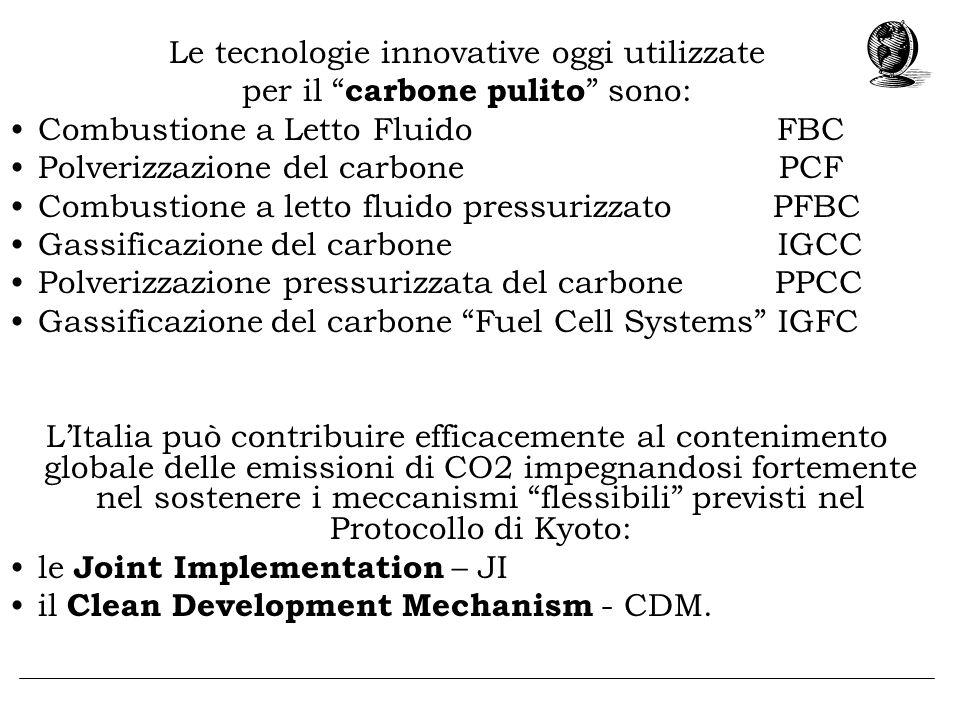 Le tecnologie innovative oggi utilizzate per il carbone pulito sono: Combustione a Letto Fluido FBC Polverizzazione del carbone PCF Combustione a lett