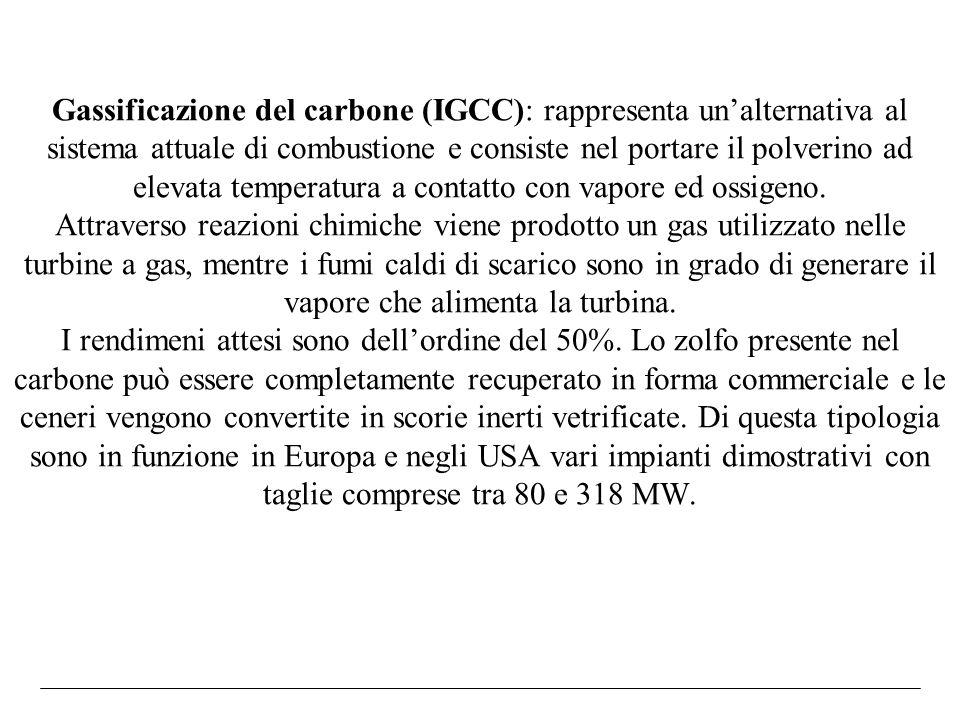 Gassificazione del carbone (IGCC): rappresenta unalternativa al sistema attuale di combustione e consiste nel portare il polverino ad elevata temperat