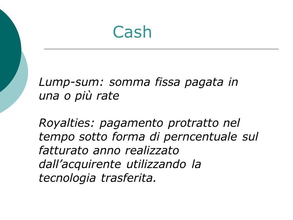 Cash Lump-sum: somma fissa pagata in una o più rate Royalties: pagamento protratto nel tempo sotto forma di perncentuale sul fatturato anno realizzato