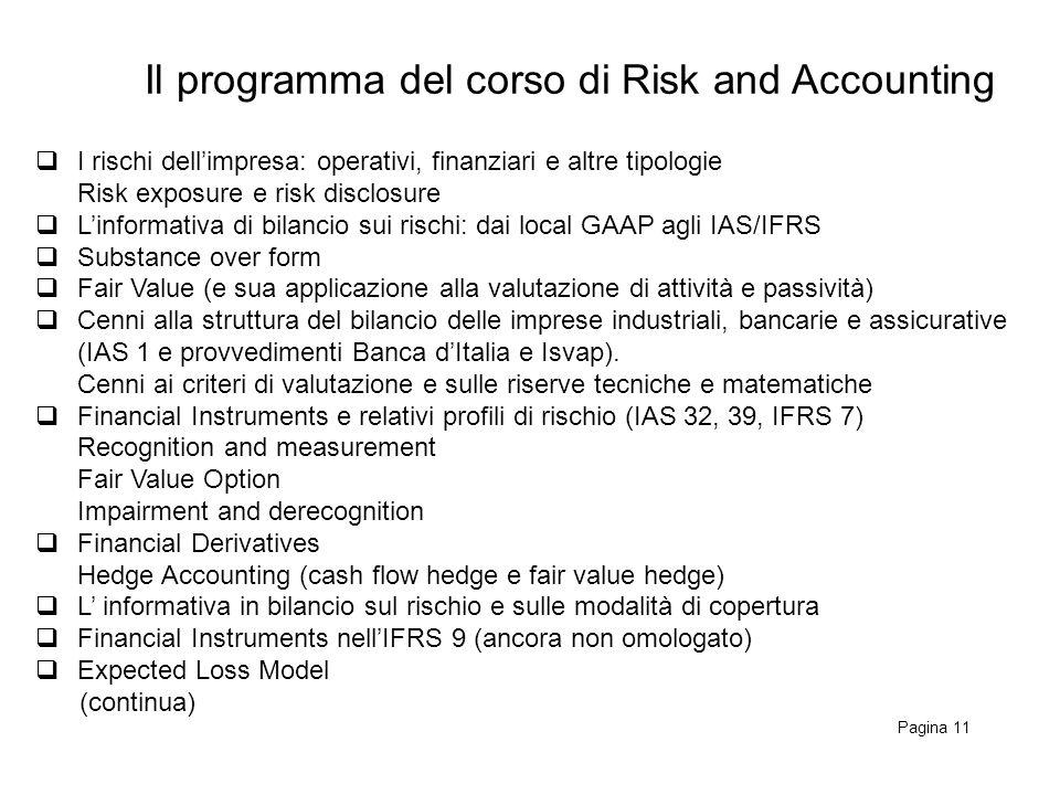 Il programma del corso di Risk and Accounting Pagina 11 I rischi dellimpresa: operativi, finanziari e altre tipologie Risk exposure e risk disclosure Linformativa di bilancio sui rischi: dai local GAAP agli IAS/IFRS Substance over form Fair Value (e sua applicazione alla valutazione di attività e passività) Cenni alla struttura del bilancio delle imprese industriali, bancarie e assicurative (IAS 1 e provvedimenti Banca dItalia e Isvap).