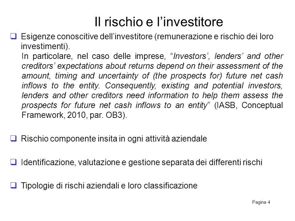 Il rischio e linvestitore Pagina 4 Esigenze conoscitive dellinvestitore (remunerazione e rischio dei loro investimenti).