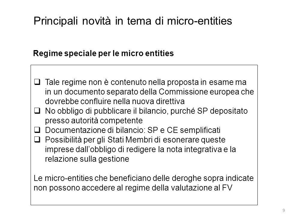 9 Tale regime non è contenuto nella proposta in esame ma in un documento separato della Commissione europea che dovrebbe confluire nella nuova direttiva No obbligo di pubblicare il bilancio, purché SP depositato presso autorità competente Documentazione di bilancio: SP e CE semplificati Possibilità per gli Stati Membri di esonerare queste imprese dallobbligo di redigere la nota integrativa e la relazione sulla gestione Le micro-entities che beneficiano delle deroghe sopra indicate non possono accedere al regime della valutazione al FV Principali novità in tema di micro-entities Regime speciale per le micro entities