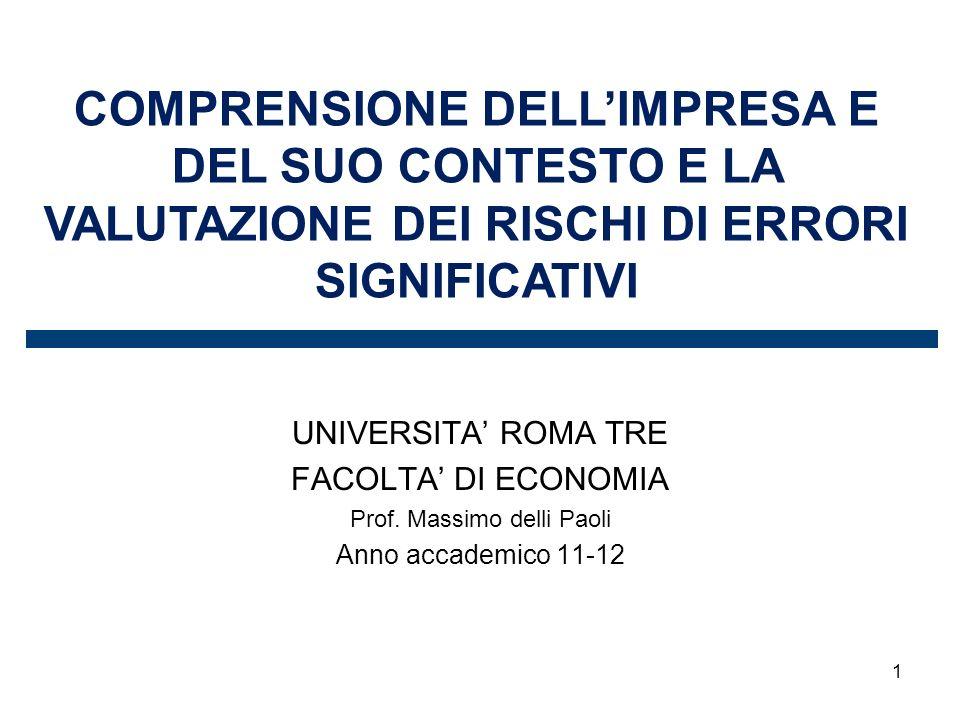 1 COMPRENSIONE DELLIMPRESA E DEL SUO CONTESTO E LA VALUTAZIONE DEI RISCHI DI ERRORI SIGNIFICATIVI UNIVERSITA ROMA TRE FACOLTA DI ECONOMIA Prof.