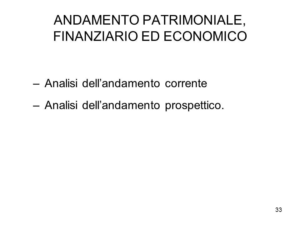 33 ANDAMENTO PATRIMONIALE, FINANZIARIO ED ECONOMICO –Analisi dellandamento corrente –Analisi dellandamento prospettico.