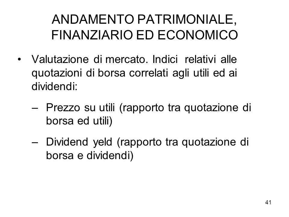 41 ANDAMENTO PATRIMONIALE, FINANZIARIO ED ECONOMICO Valutazione di mercato.