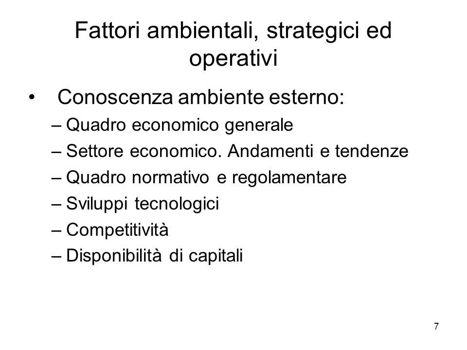 7 Fattori ambientali, strategici ed operativi Conoscenza ambiente esterno: –Quadro economico generale –Settore economico.