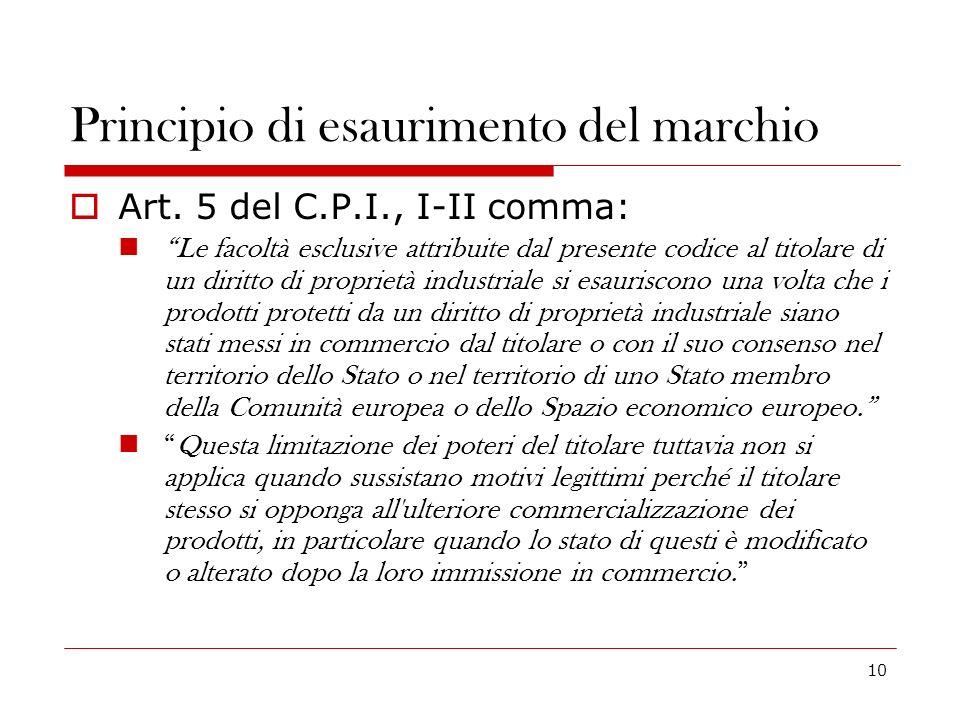 10 Principio di esaurimento del marchio Art. 5 del C.P.I., I-II comma: Le facoltà esclusive attribuite dal presente codice al titolare di un diritto d