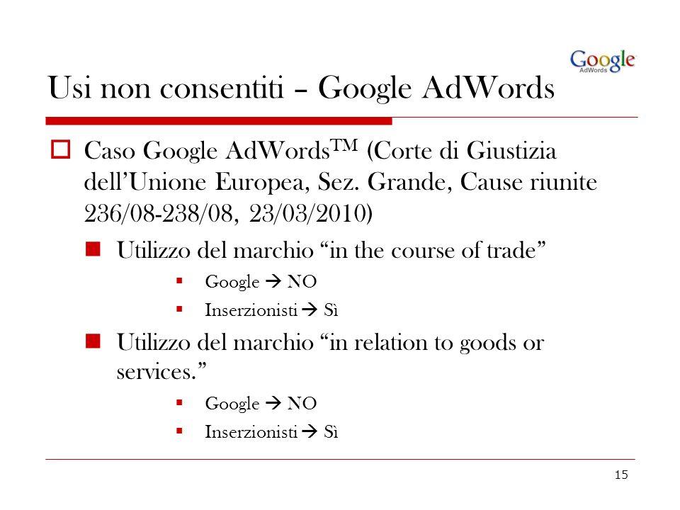 15 Usi non consentiti – Google AdWords Caso Google AdWords TM (Corte di Giustizia dellUnione Europea, Sez. Grande, Cause riunite 236/08-238/08, 23/03/