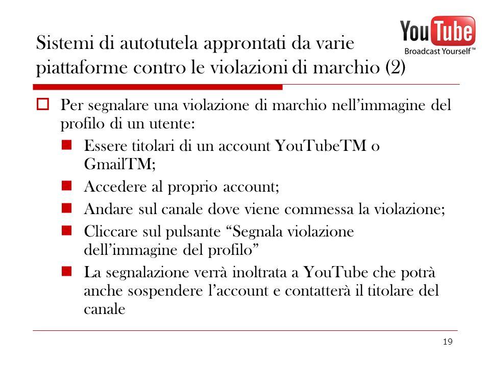 19 Sistemi di autotutela approntati da varie piattaforme contro le violazioni di marchio (2) Per segnalare una violazione di marchio nellimmagine del
