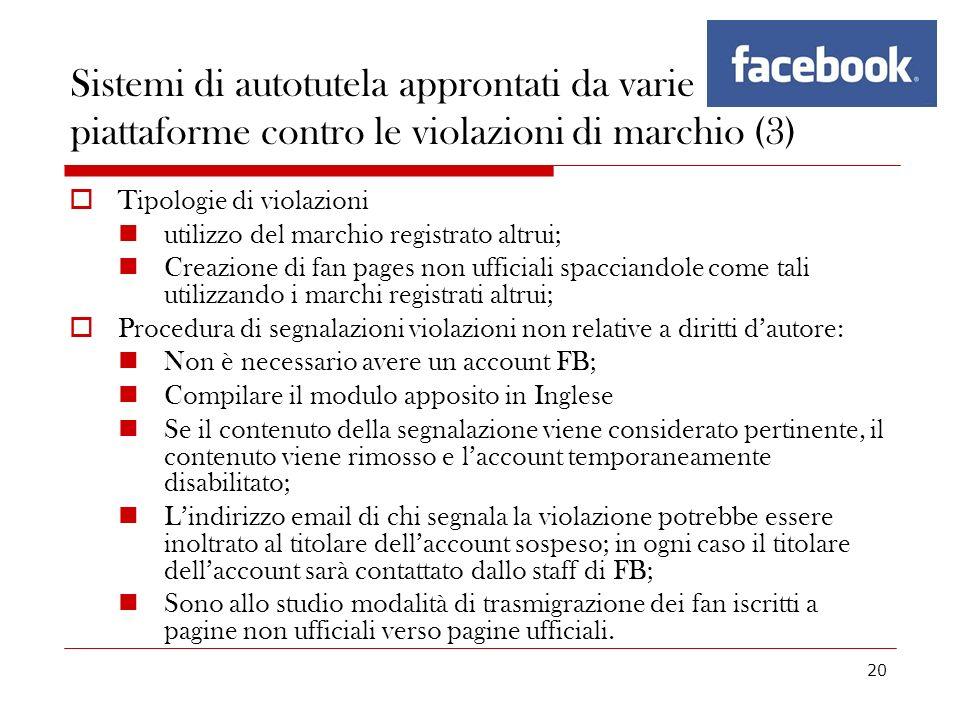 20 Sistemi di autotutela approntati da varie piattaforme contro le violazioni di marchio (3) Tipologie di violazioni utilizzo del marchio registrato a