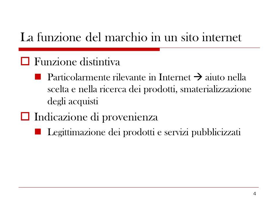 4 La funzione del marchio in un sito internet Funzione distintiva Particolarmente rilevante in Internet aiuto nella scelta e nella ricerca dei prodott