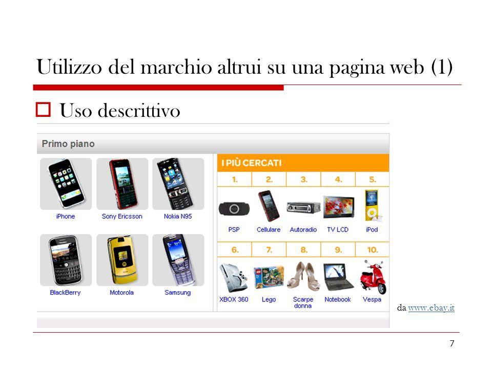 7 Utilizzo del marchio altrui su una pagina web (1) Uso descrittivo da www.ebay.itwww.ebay.it