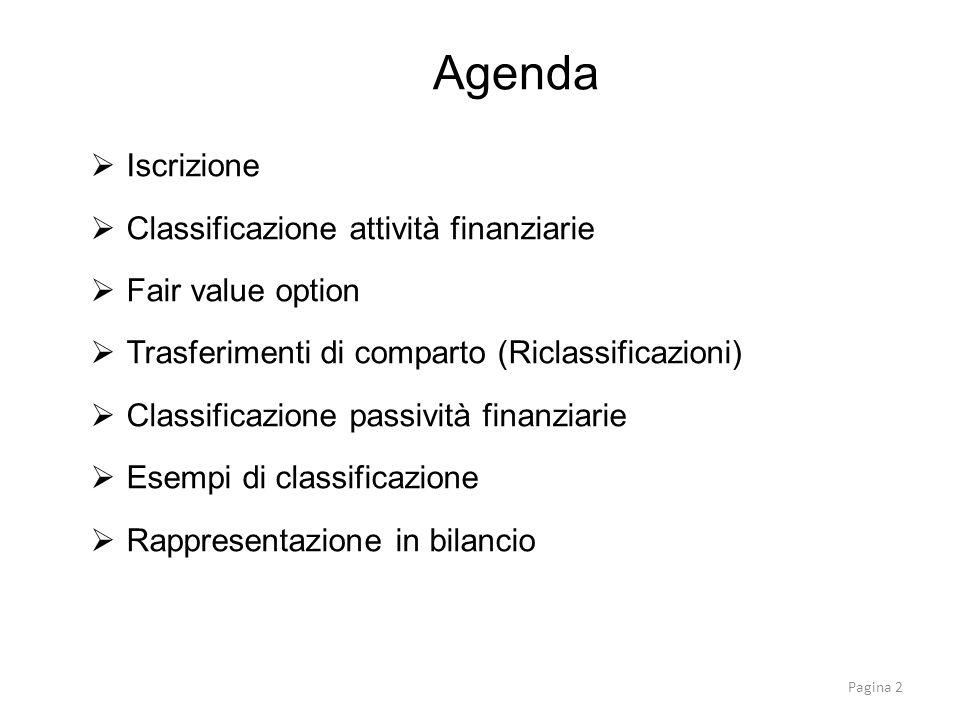Iscrizione Classificazione attività finanziarie Fair value option Trasferimenti di comparto (Riclassificazioni) Classificazione passività finanziarie