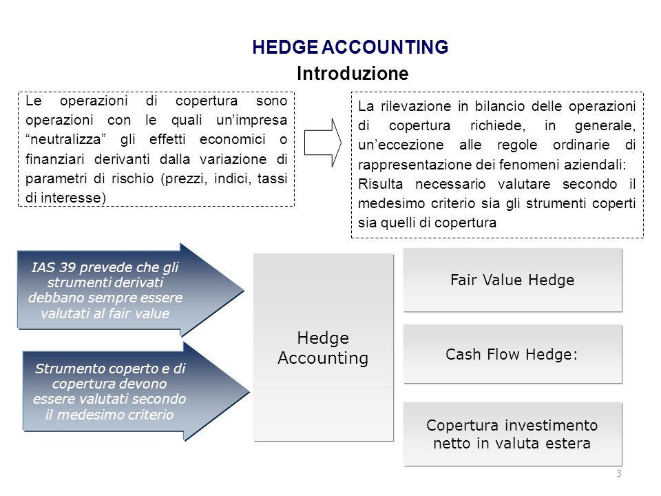 3 HEDGE ACCOUNTING Introduzione Le operazioni di copertura sono operazioni con le quali unimpresa neutralizza gli effetti economici o finanziari deriv