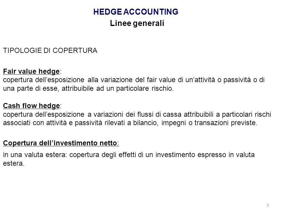 5 HEDGE ACCOUNTING Linee generali TIPOLOGIE DI COPERTURA Fair value hedge: copertura dellesposizione alla variazione del fair value di unattività o pa
